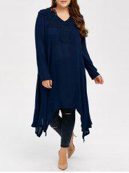 Plus Size V Neck Long Sleeved Asymmetrical Dress