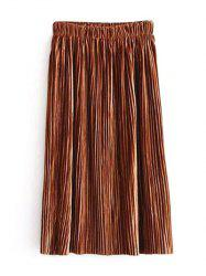 Elastic Waist Midi Pleated Skirt