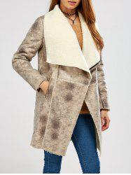 Fleece Lining Suede Look Shawl Coat - GRAY