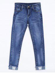 High Waisted W Letter Applique Cuffed Jeans