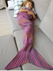 Winter Thicken Lengthen Color Block Sleeping Bag Wrap Kids Mermaid Blanket - PINK