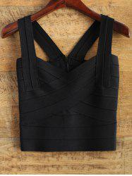 Straps Back Zipper Crop Tank Top