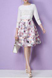High Rise Printed Organza A Line Skirt