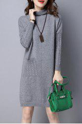 High Neck Single Pocket Knitted Dress -