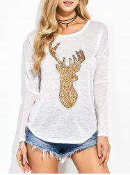 Sequined Elk Graphic Drop Shoulder Tee