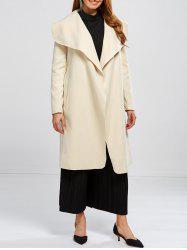 Shawl Collar Wool Blend Belted Wrap Coat