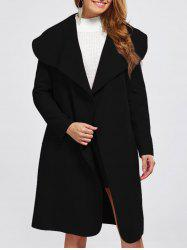 Shawl Collar Wool Blend Belted Wrap Coat - BLACK