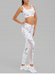 Mesh Paneled Paint Splatter Gym Suit - WHITE