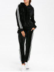 Sporty Velvet Hoodie and Running Jogger Sweatpants - BLACK