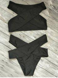Bandage Criss Cross Cut Out Bikini Set - BLACK L