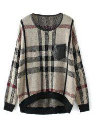 Patched High Low Plaid Sweater -