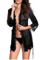 Wrap Lace Hook Sleep Robe With T-Back - BLACK