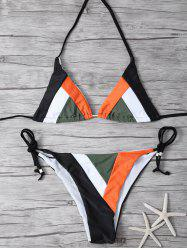 Halter Geometric Color Block Bikini Set