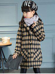 Girls Hooded Plaid Long Wool Coat -