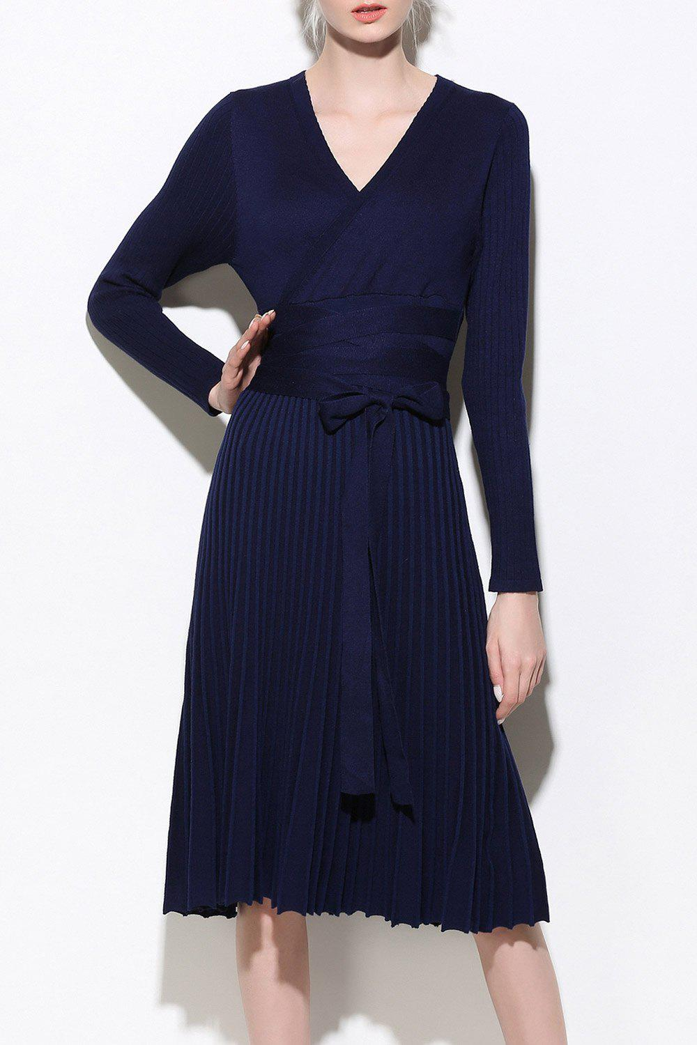 Affordable Wrap Long Sleeve A-Line Jumper Dress