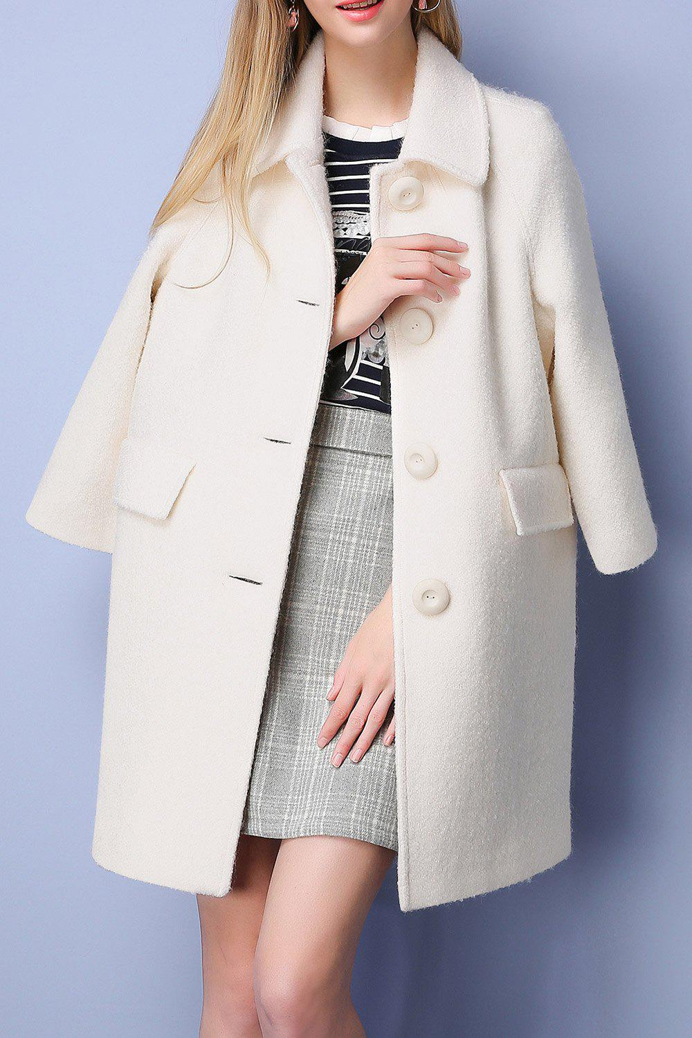 Outfits Woolen Button Up Coat