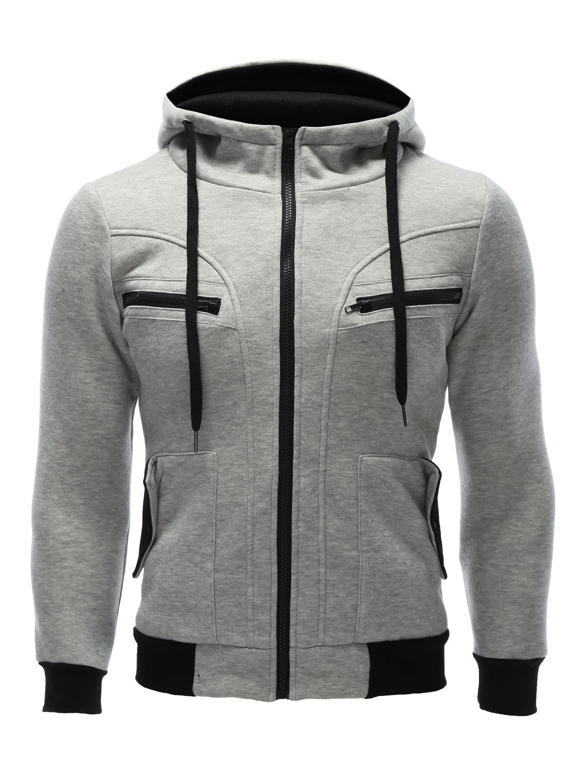Outfit Zipper Embellished Patchwork Hoodie with Pockets