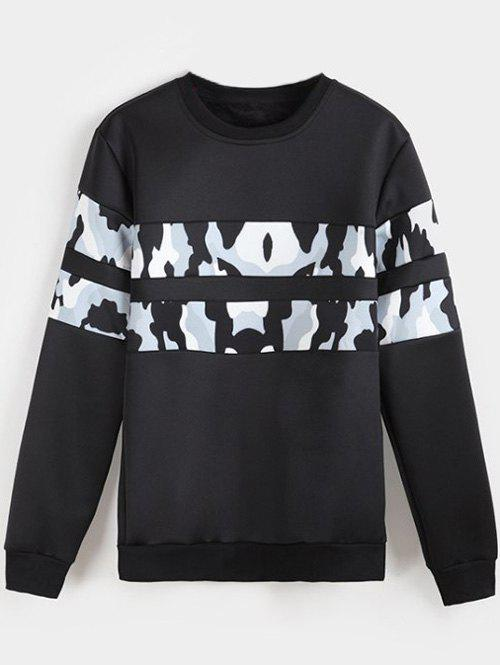 New Camo Panel Crew Neck Flocking Sweatshirt