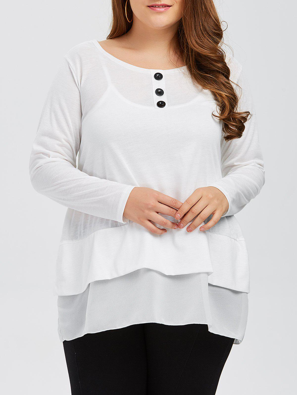 Fashion Plus Size Buttons and Flounce Embellished T-Shirt