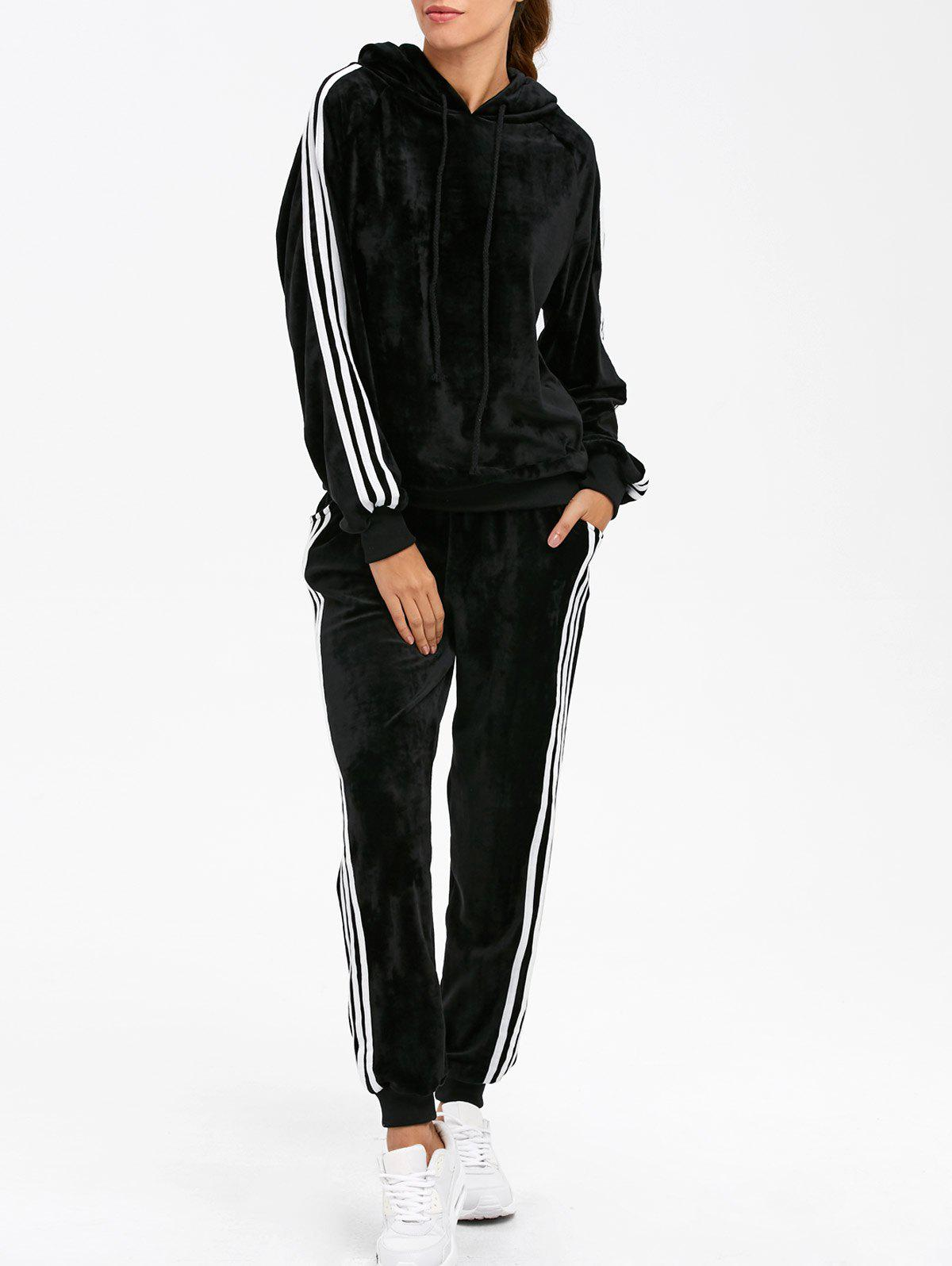 Sporty Velvet Hoodie and Running Jogger SweatpantsWOMEN<br><br>Size: S; Color: BLACK; Material: Spandex; Shirt Length: Regular; Sleeve Length: Full; Pattern Style: Striped; Weight: 0.4700kg; Package Contents: 1 x Hoodie  1 x Sweatpants;