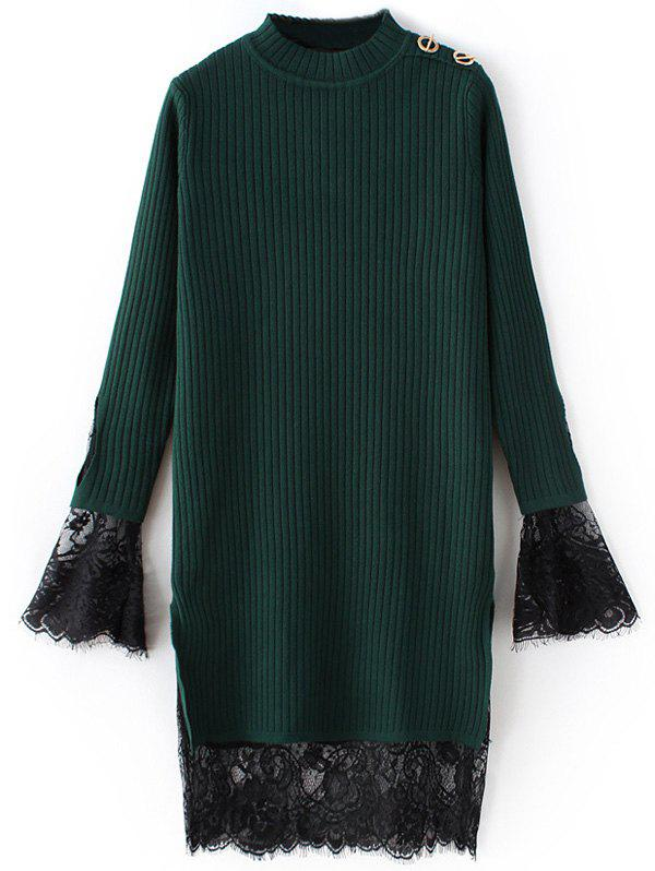 Best Lace Panel Ribbed Layered Sweater Dress