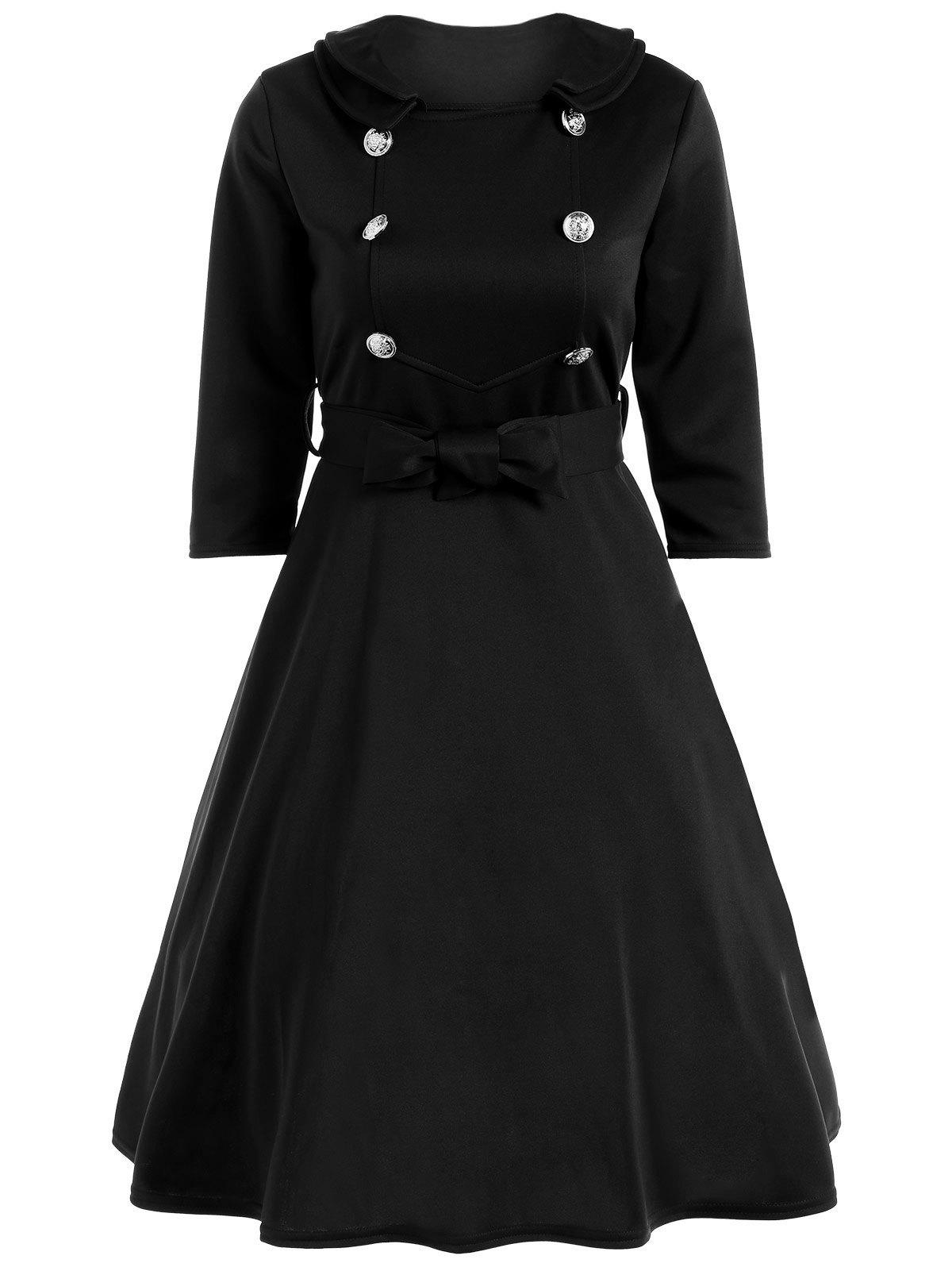 Cheap Bowknot Belted Swing Dress
