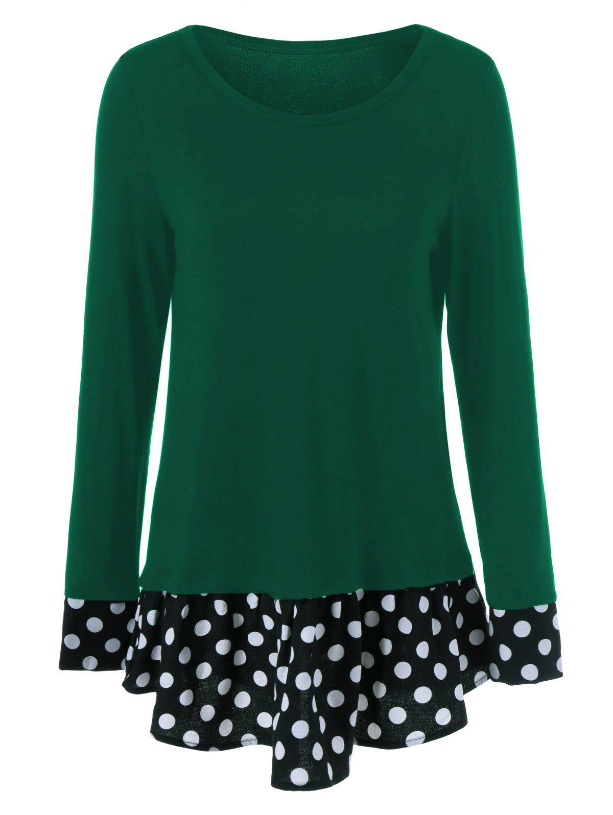 Outfit Polka Dot Patchwork Flounced T-Shirt