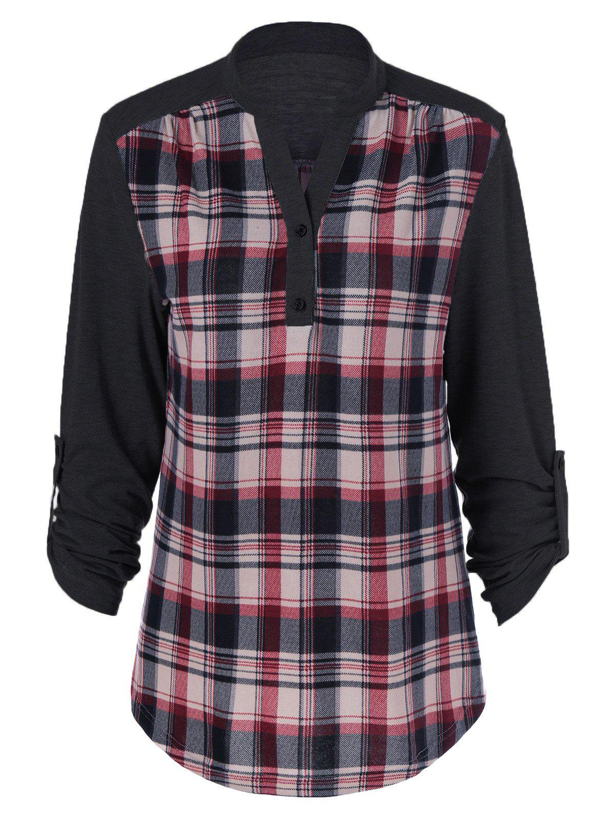 Plaid Patchwork Adjustable Sleeve T-ShirtWOMEN<br><br>Size: M; Color: BLACK; Material: Polyester; Sleeve Length: Full; Collar: Stand-Up Collar; Style: Casual; Pattern Type: Plaid; Season: Fall,Spring; Weight: 0.3800kg; Package Contents: 1 x T-Shirt;