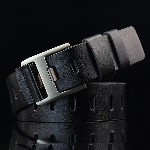 Brief Hollow Out Wide Hole PU BeltACCESSORIES<br><br>Color: BLACK; Group: Adult; Gender: For Men; Style: Casual; Belt Material: PU; Pattern Type: Solid; Belt Silhouette: Wide Belt; Belt Length: 110CM-115CM; Belt Width: 3.7CM; Weight: 0.169kg; Package Contents: 1 x Belt;