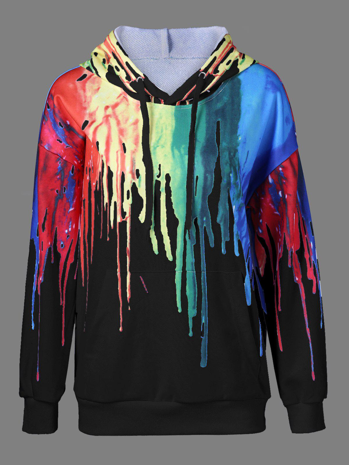 Paint Drip Drawstring HoodieWOMEN<br><br>Size: M; Color: BLACK; Material: Polyester; Shirt Length: Regular; Sleeve Length: Full; Style: Casual; Pattern Style: Print; Season: Fall,Spring; Weight: 0.556kg; Package Contents: 1 x Hoodie;