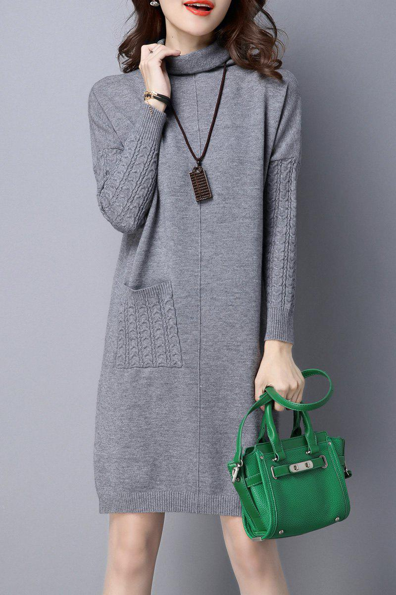 Hot High Neck Single Pocket Knitted Dress
