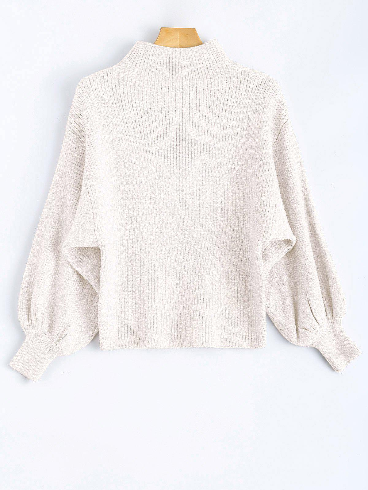 Unique Mock Neck Puff Sleeve Pullover Sweater