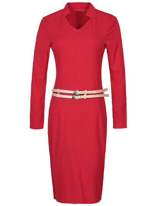 New Long Sleeve Pencil Sheath Work Dress