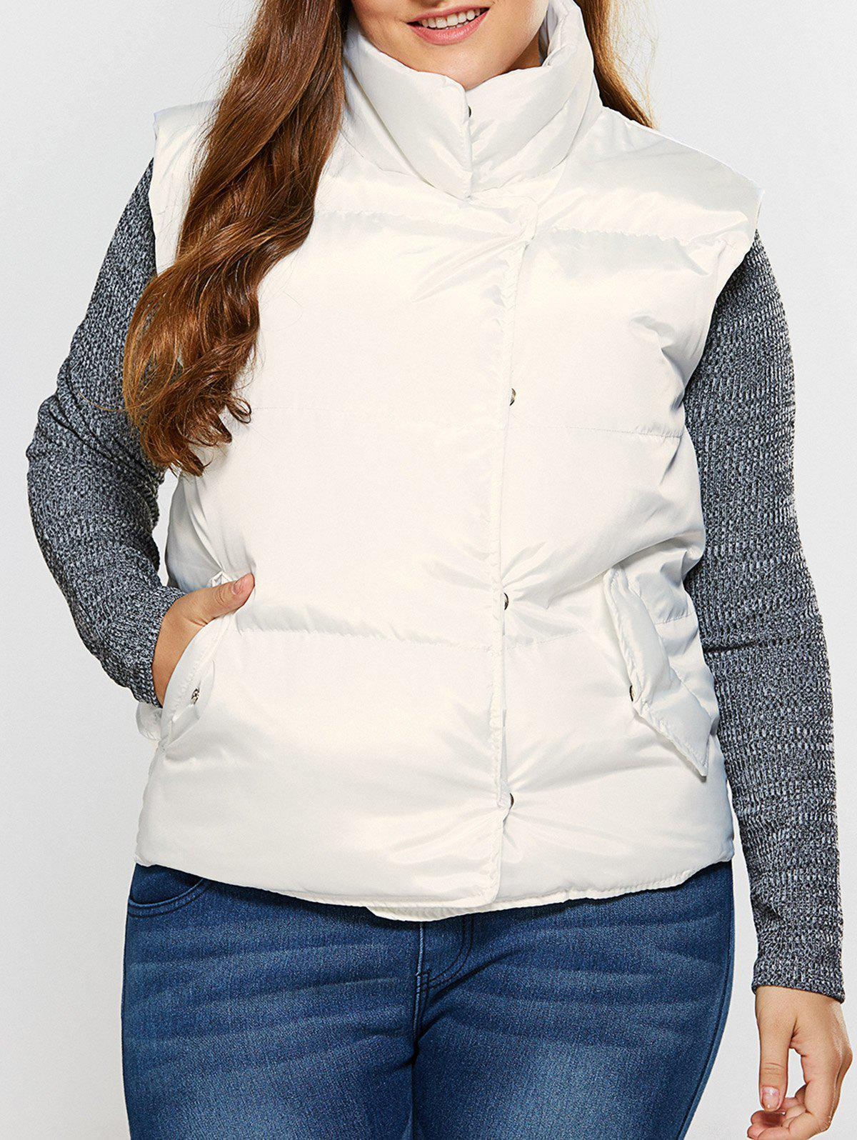 Fashion Button Up Stand Collar Padded Vest