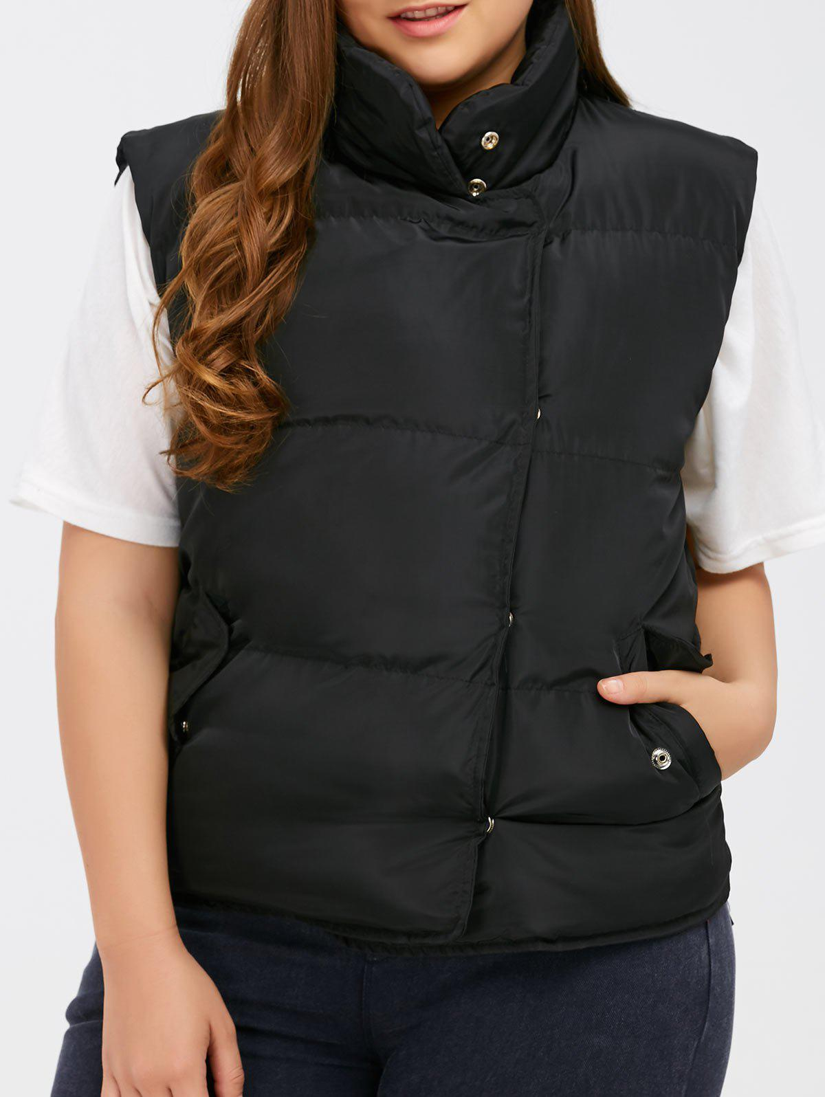 Trendy Button Up Stand Collar Padded Vest
