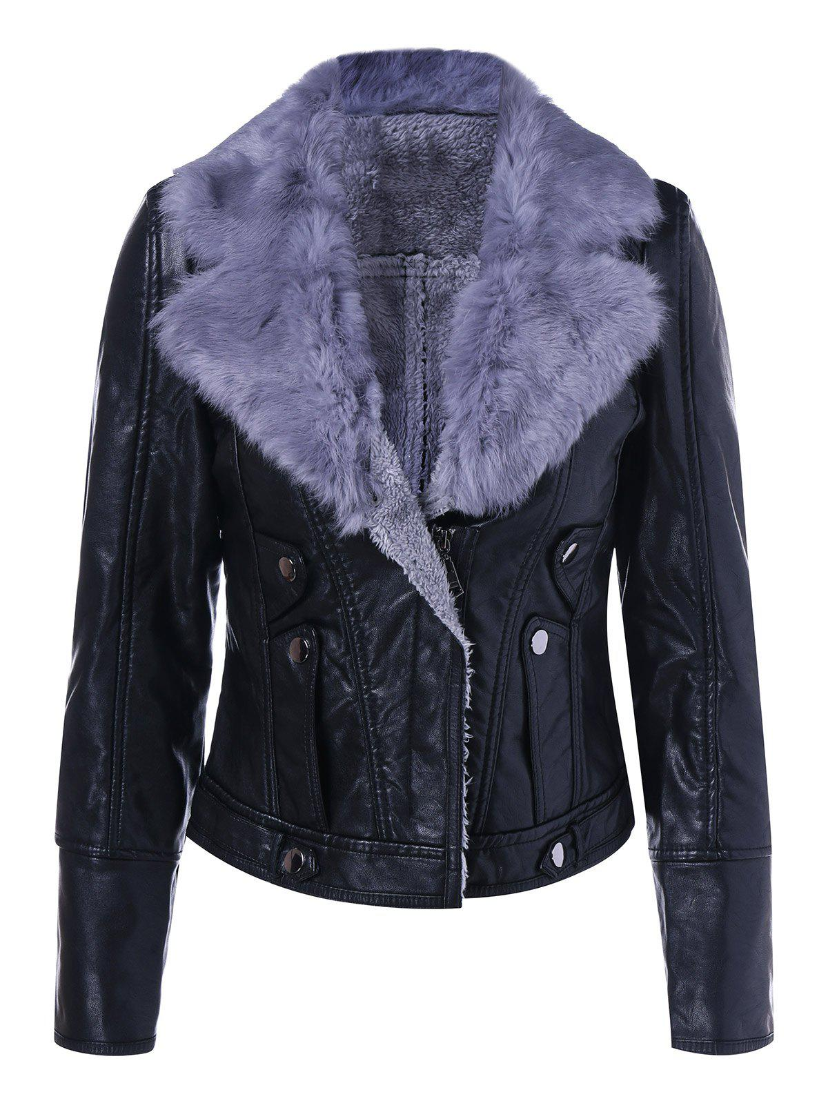 Sale Faux Leather Collar Winter Biker Jacket with Fur Collar