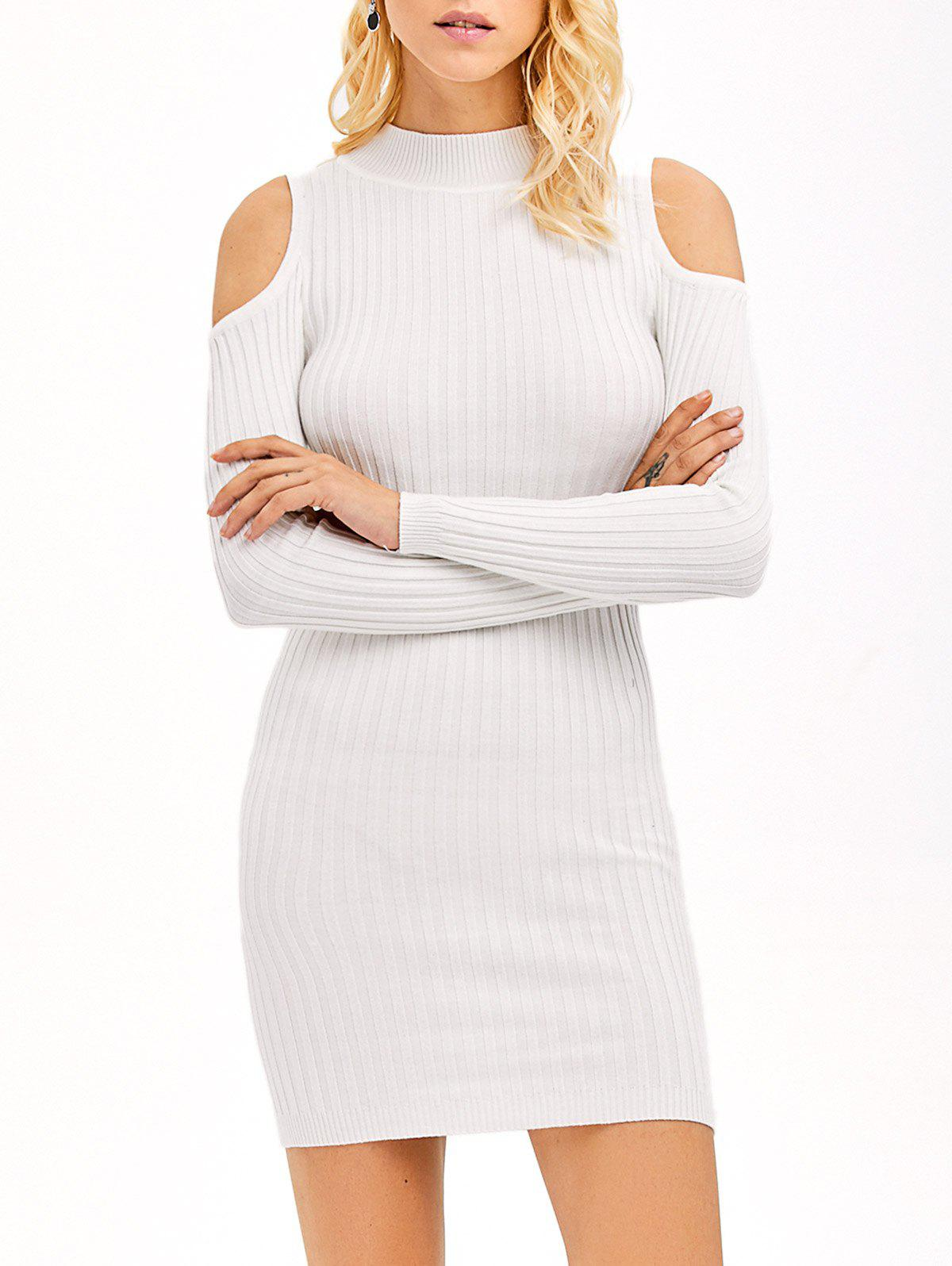 31cb2061fd7c 61% OFF] Ribbed Cold Shoulder Long Sleeve Bodycon Dress | Rosegal