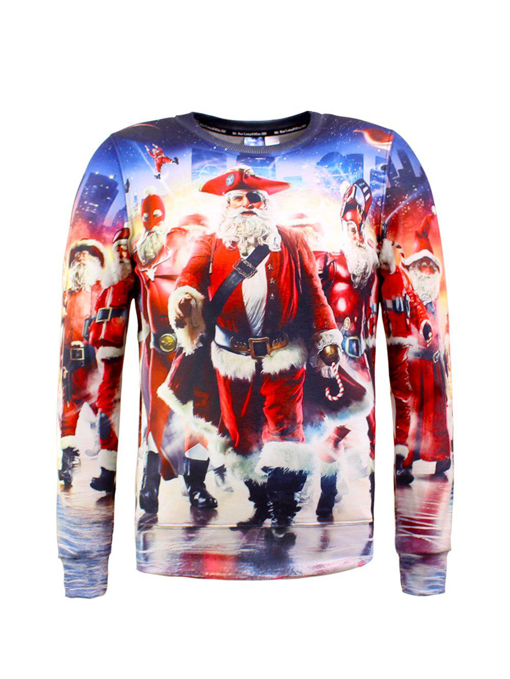 Santa Claus 3D Printed Christmas SweatshirtMEN<br><br>Size: 2XL; Color: COLORMIX; Material: Cotton Blends; Shirt Length: Regular; Sleeve Length: Full; Style: Fashion; Weight: 0.375kg; Package Contents: 1 x Sweatshirt;