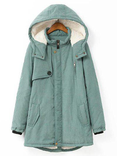 Plus Size Hooded Flocking CoatWOMEN<br><br>Size: 4XL; Color: PEA GREEN; Clothes Type: Wool &amp; Blends; Material: Cotton,Polyester; Type: Wide-waisted; Shirt Length: Long; Sleeve Length: Full; Collar: Hooded; Pattern Type: Solid; Embellishment: Pockets; Style: Fashion; Season: Fall,Winter; Weight: 0.850kg; Package Contents: 1 x Coat;