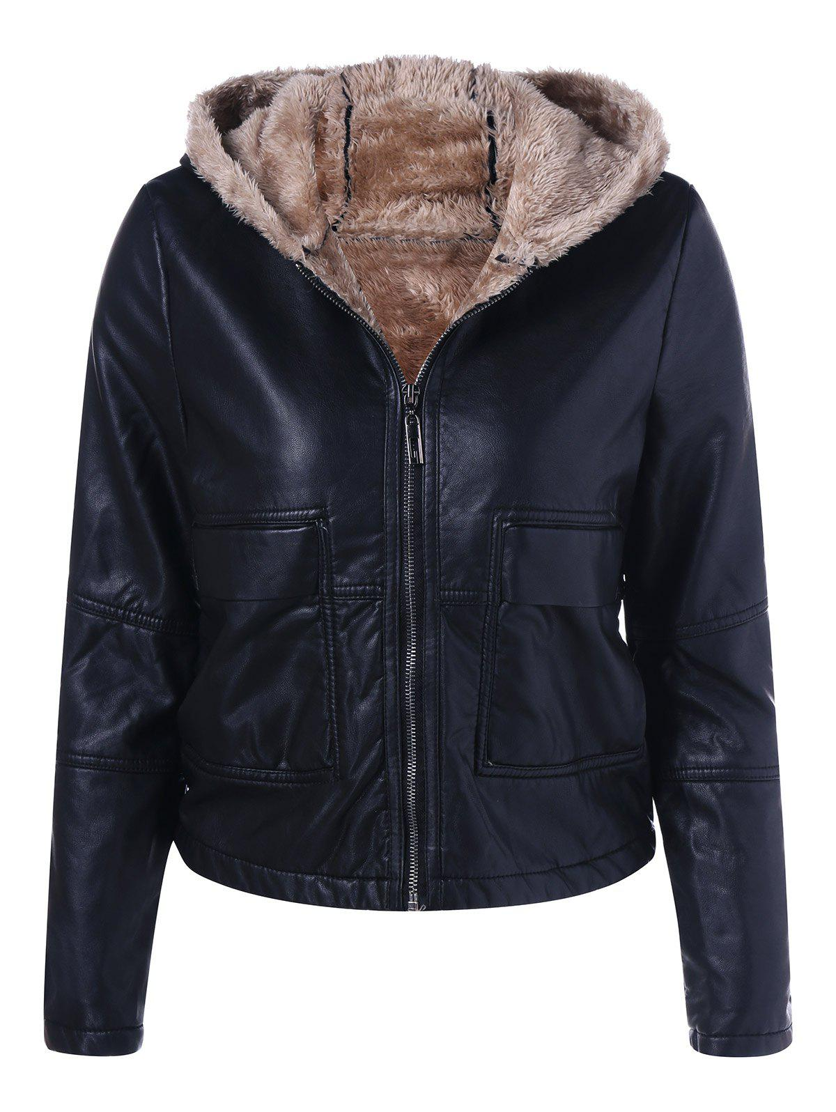 Trendy Hooded PU Leather Jacket