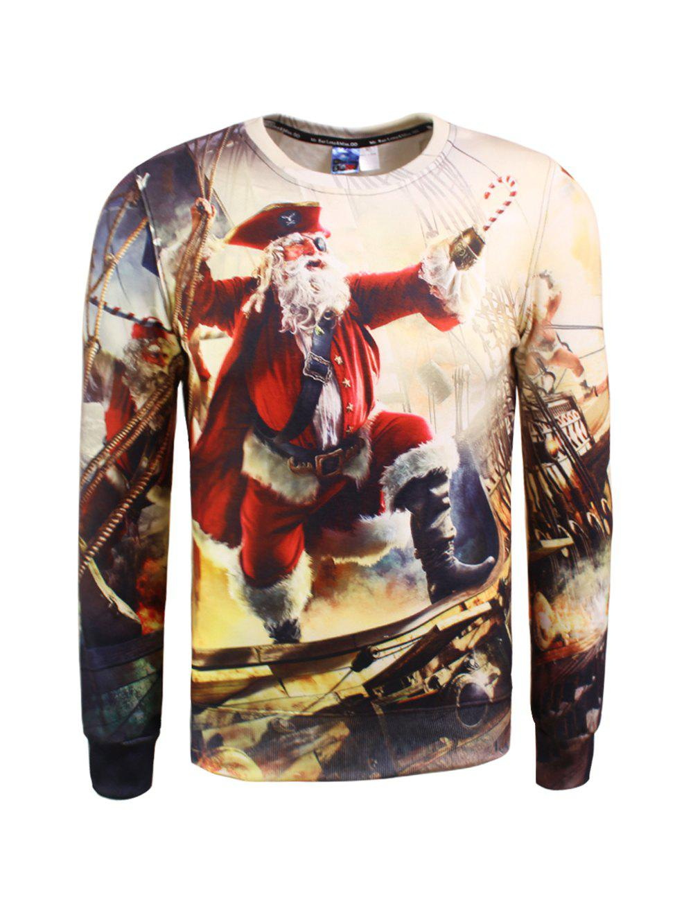 3D Pirate Print Crew Neck Christmas SweatshirtMEN<br><br>Size: M; Color: COLORMIX; Material: Cotton Blends; Shirt Length: Regular; Sleeve Length: Full; Style: Fashion; Weight: 0.385kg; Package Contents: 1 x Sweatshirt;
