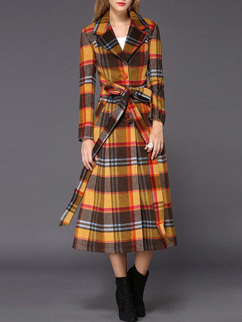 Buy Wool Checked Long Skirted Coat