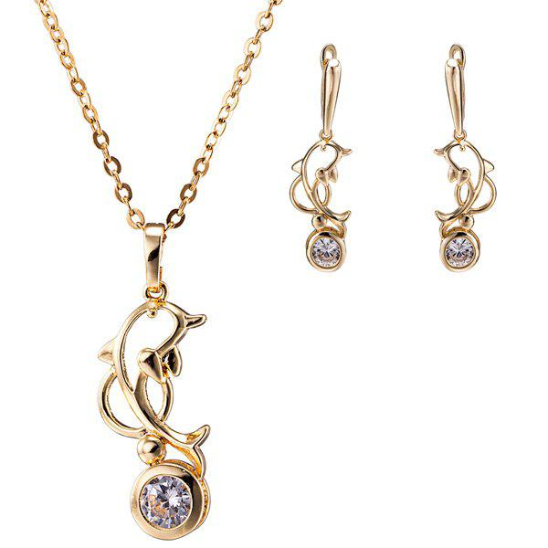 Store Hollow Out Dolphin Zircon Pendant Necklace Set