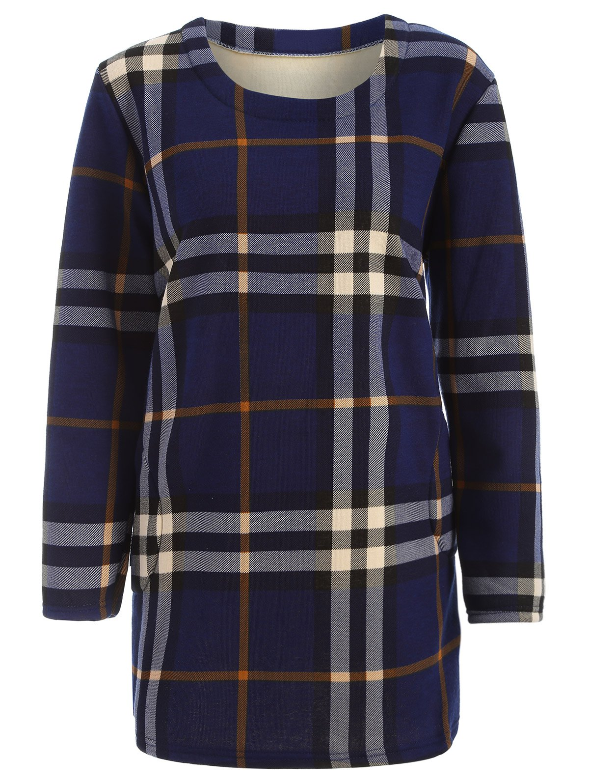 Image of Tartan Pattern Thicken Plus Size Long Sleeve T Shirt