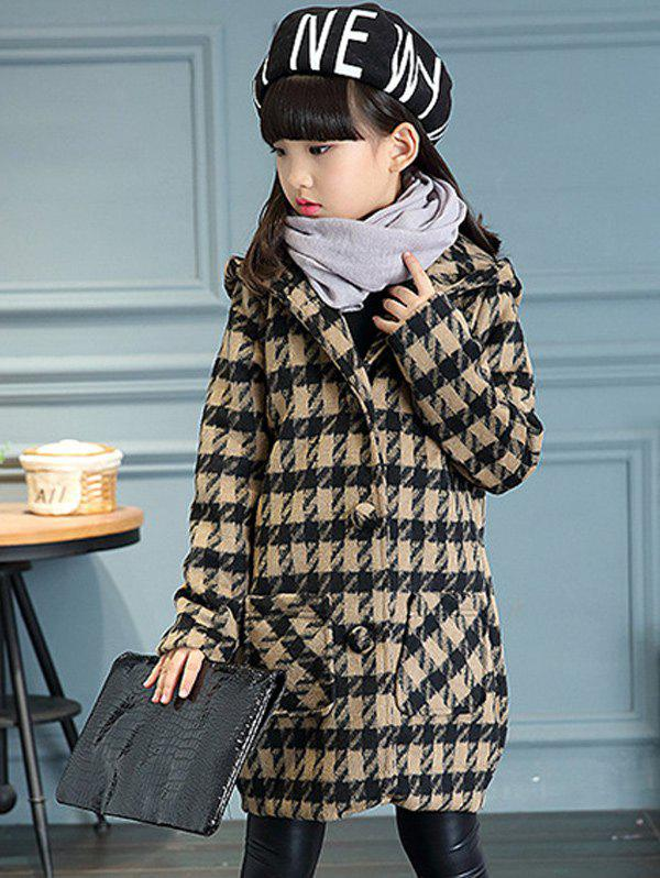 Affordable Girls Hooded Plaid Long Wool Coat