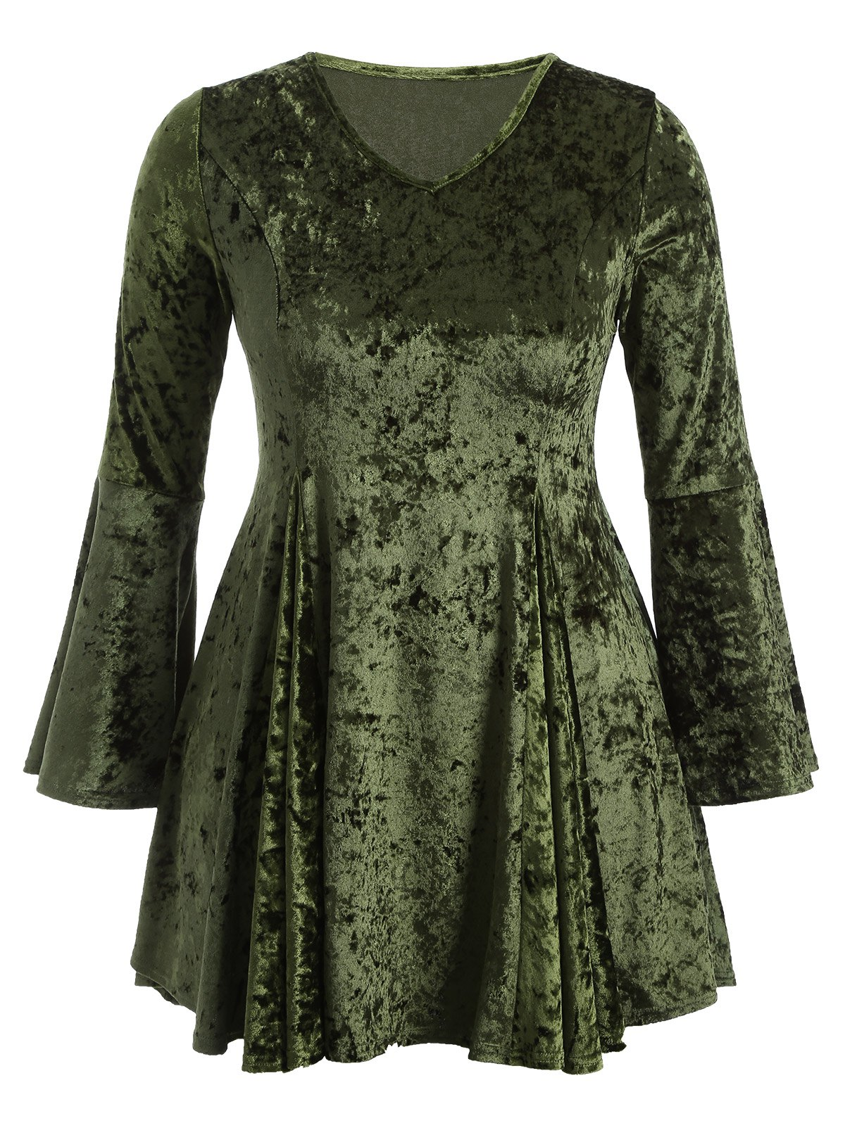 Bell Sleeve Velvet Skater Short Cocktail DressWOMEN<br><br>Size: 3XL; Color: GREEN; Style: Casual; Material: Cotton Blend; Silhouette: A-Line; Dresses Length: Mini; Neckline: V-Neck; Sleeve Length: Long Sleeves; Pattern Type: Solid; With Belt: No; Season: Fall; Weight: 0.370kg; Package Contents: 1 x Dress;