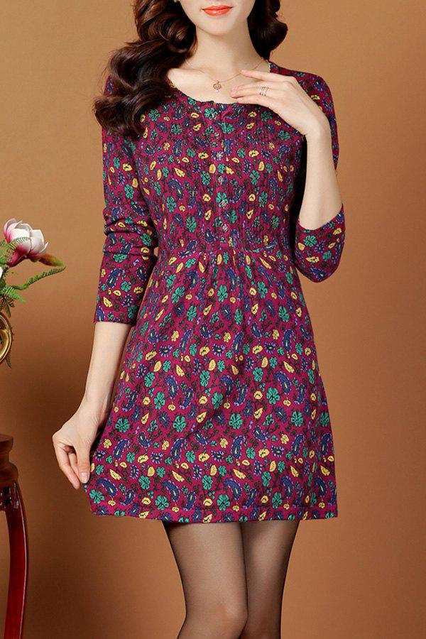 9480b13bf56 2018 Jacquard Vintage A Line Jumper Dress In Purple 3xl