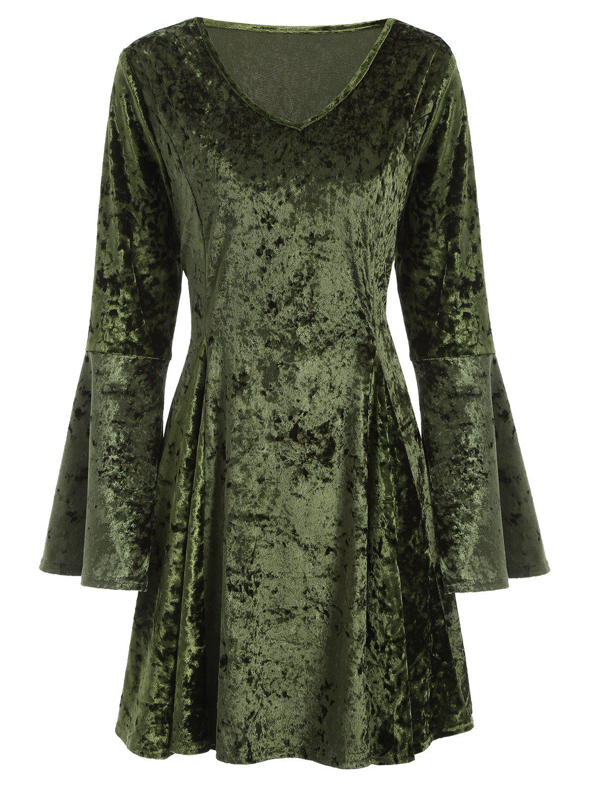 V Neck Bell Sleeve Fit Flare Velvet Dress - Green M