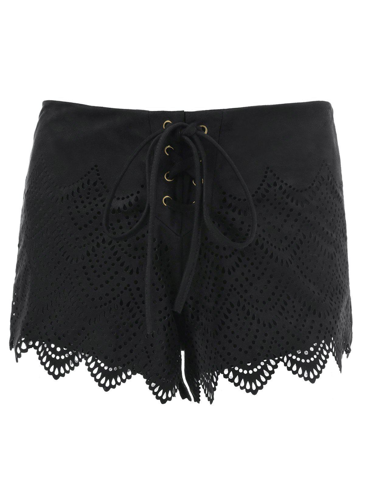 Shops Suede Lace-Up Openwork Scalloped Shorts