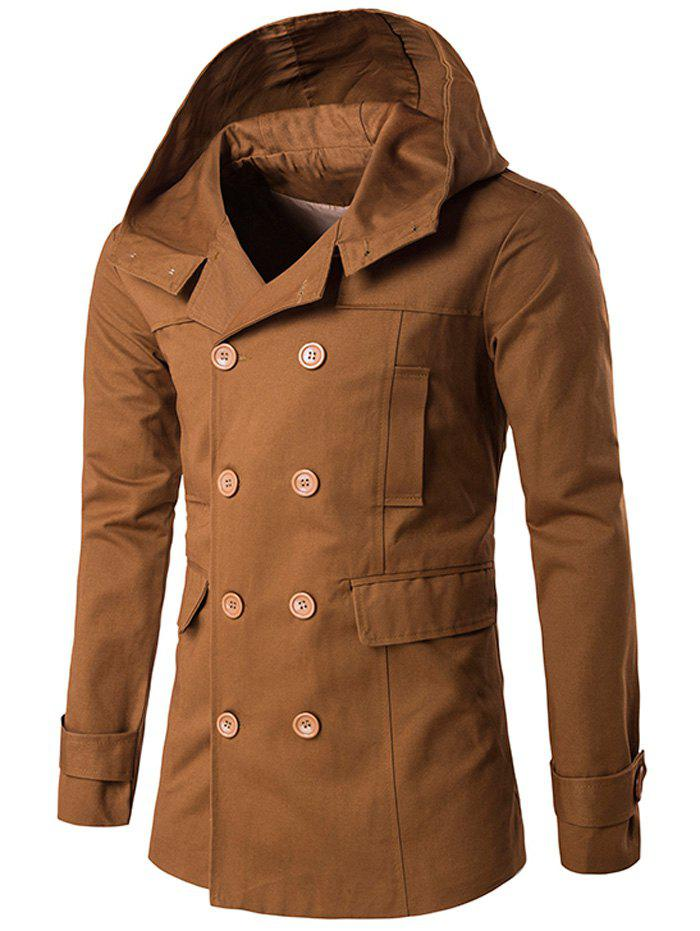 Outfit Lapel Collar Double Breasted Hooded Coat